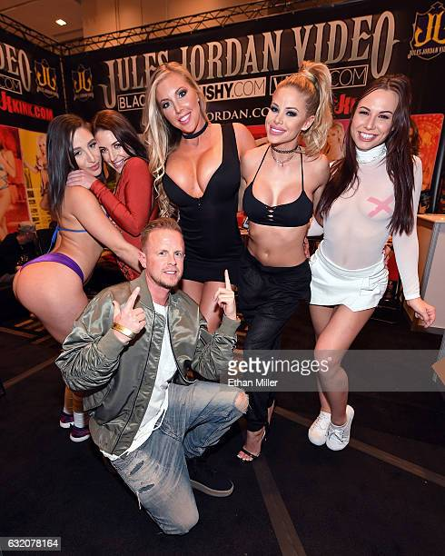 Adult film producer/director Jules Jordan poses with adult film actresses Abella Danger Angela White Samantha Saint Jessa Rhodes and Aidra Fox at the...