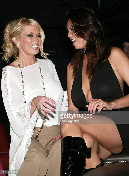 Adult film star and author Jenna Jameson poses with adult film star Tera Patrick at a book release party for her new book 'How To Make Love Like A...
