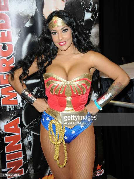 Adult film star/cosplayer Nina Mercedes as Wonder Woman attends Day 1 Wizard World Chicago Comic Con held at Donald E Stephens Convention Center on...
