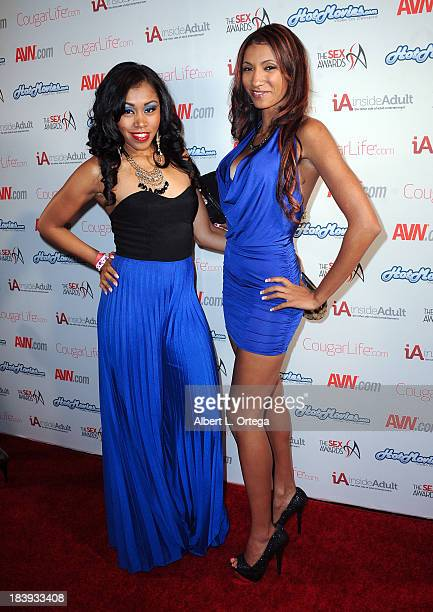 Adult film stars Yasmine Deleon and Sadie Santana arrive for The Sex Awards 2013 held at Avalon on October 9 2013 in Hollywood California
