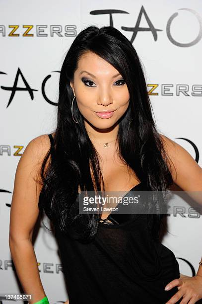 Adult flim star Asa Akira arrives for Brazzers party at the Tao Nightclub at the Venetian Resort Hotel Casino on January 20 2012 in Las Vegas Nevada