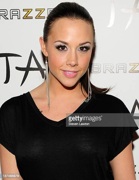 Adult flim star Chanel Preston arrives for Brazzers party at the Tao Nightclub at the Venetian Resort Hotel Casino on January 20 2012 in Las Vegas...