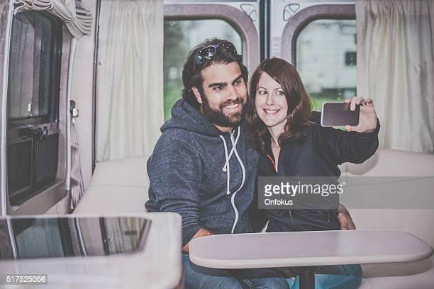 Adult Heterosexual Couple Selfie Inside Motorhome