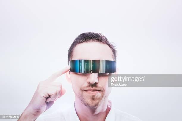 Adult Man Wearing VR Glasses