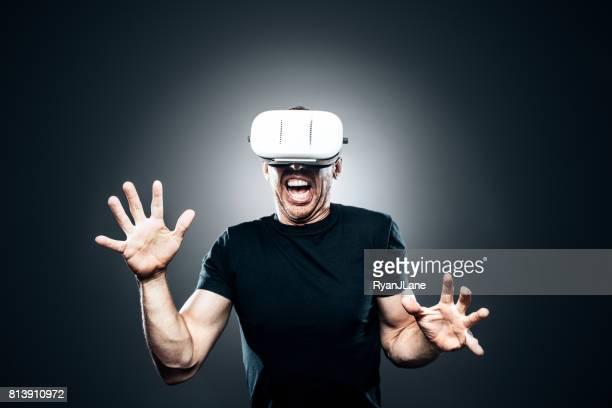 Adult Man Wearing VR Headset