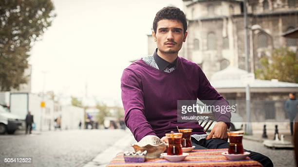 Adult Turkish Man Drinking Tea in Istanbul
