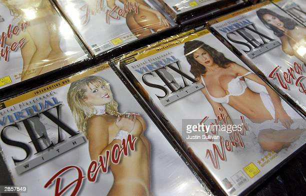 Adult videos are seen on display at the AVN Adult Entertainment Expo January 10 2004 in Las Vegas Thousands attended the threeday conference...