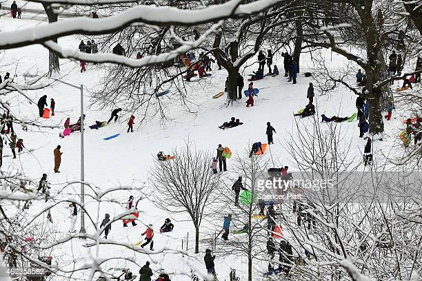 Adults and children sled at Brooklyn's Prospect Park the morning after a major winter storm on January 27 2015 in New York City Despite dire...