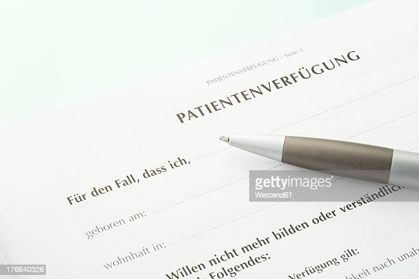 Advance directive with pen, close up