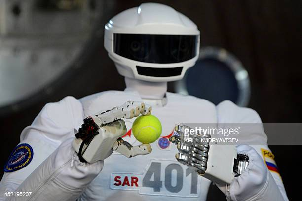 SAR401 advanced anthropomorphic robot operates at the Gagarin Cosmonauts' Training Centre in Star City centre outside Moscow on November 27 2013...