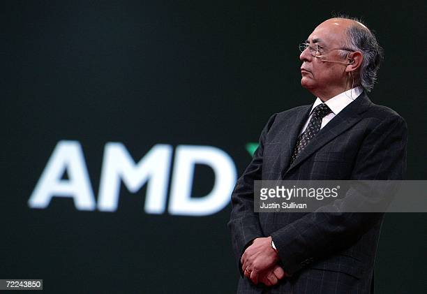 Advanced Micro Devices Chairman and CEO Hector Ruiz delivers a keynote address during the 2006 Oracle Open World conference October 23 2006 in San...