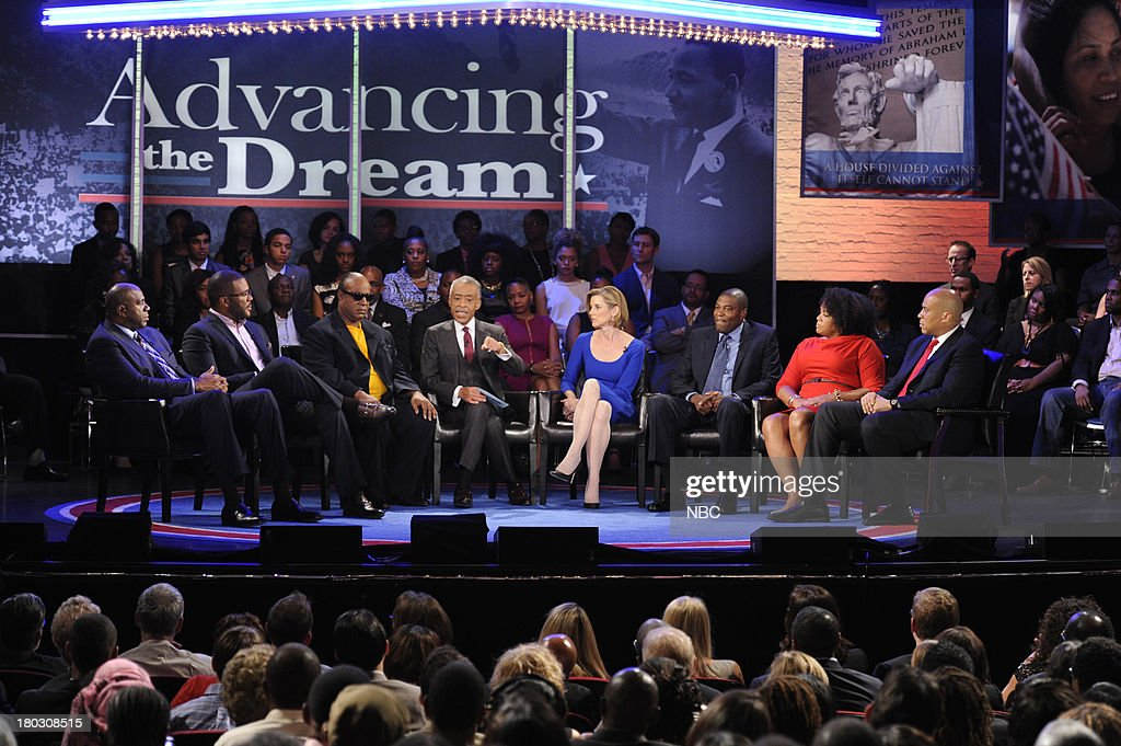 SPECIALS -- 'Advancing the Dream: Live from the Apollo' -- Pictured: (l-r) <a gi-track='captionPersonalityLinkClicked' href=/galleries/search?phrase=Magic+Johnson&family=editorial&specificpeople=157511 ng-click='$event.stopPropagation()'>Magic Johnson</a>, Tyler Perry, Stevie Wonder, Rev. Al Sharpton, Sallie Krawcheck, Ryan Blaylock, Lisa Price, Cory Booker --
