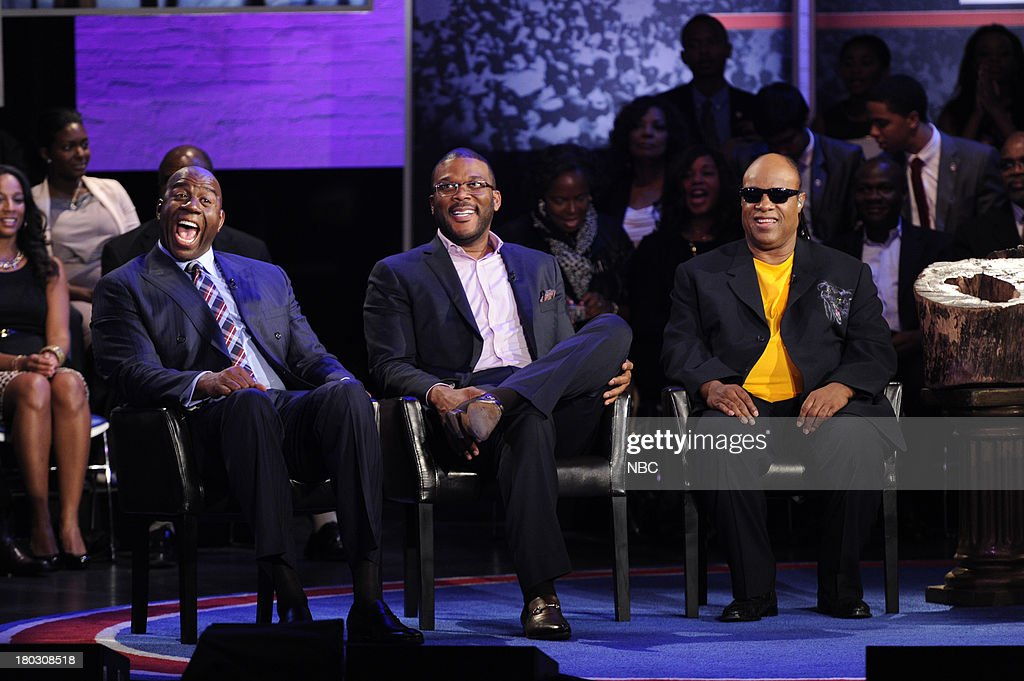 SPECIALS -- 'Advancing the Dream: Live from the Apollo' -- Pictured: (l-r) <a gi-track='captionPersonalityLinkClicked' href=/galleries/search?phrase=Magic+Johnson&family=editorial&specificpeople=157511 ng-click='$event.stopPropagation()'>Magic Johnson</a>, Tyler Perry, Stevie Wonder --