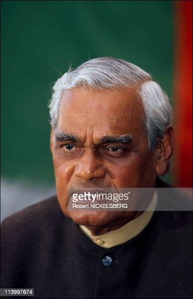 Advani Atal Bihari Vajpayee nationalist Hindus leaders In New Delhi India On February 22 1998Lk Advani BJP leader