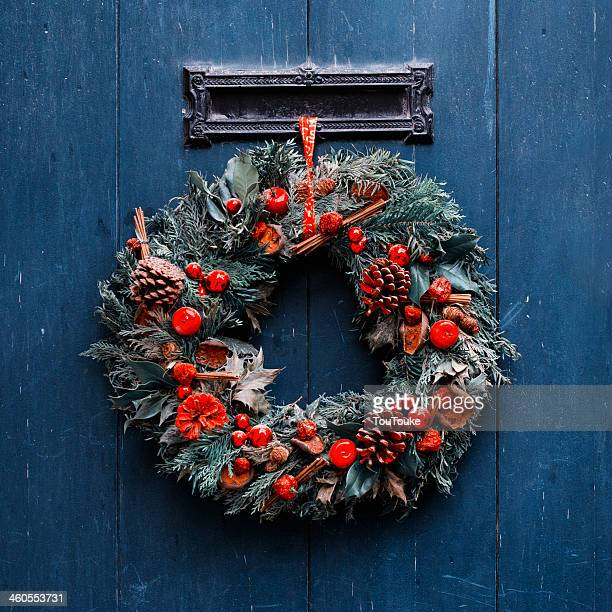 Advent - Advent Christmas wreath on wooden door