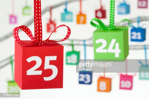 Advent calendar colourful gift boxes