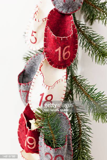 Advent calendar hanging from wall