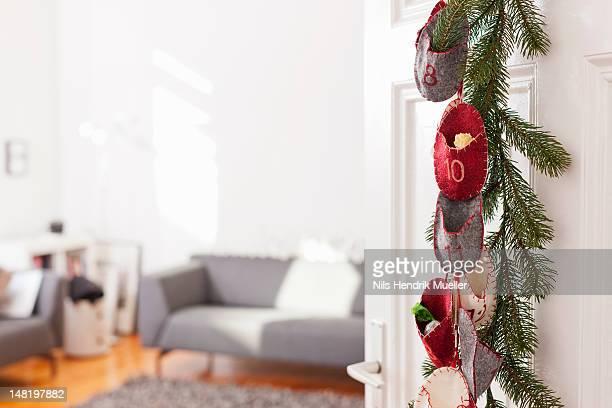 Advent calendar hanging on door