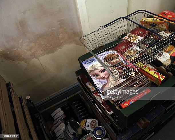 Advent calendars are piled up and ready to be sent out from the Chesterlestreet foodbank which caters for one of the most deprived areas in England...