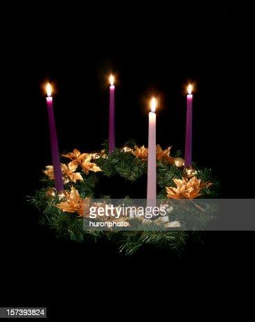advent wreath on black