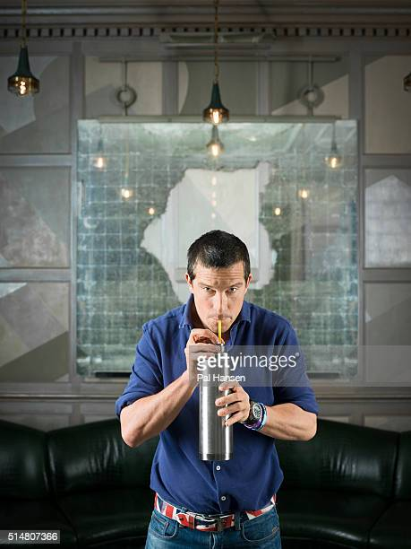 Adventurer and tv presenter Bear Grylls is photographed for the Observer on December 11 2015 in London England