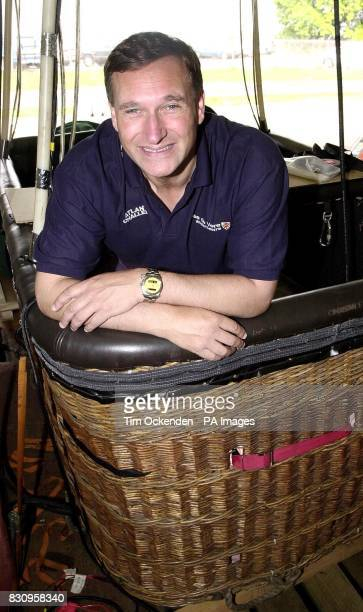 Adventurer David HemplemanAdams during preparation for his solo balloon with an open wicker basket flight across the Atlantic on Pittsburgh...