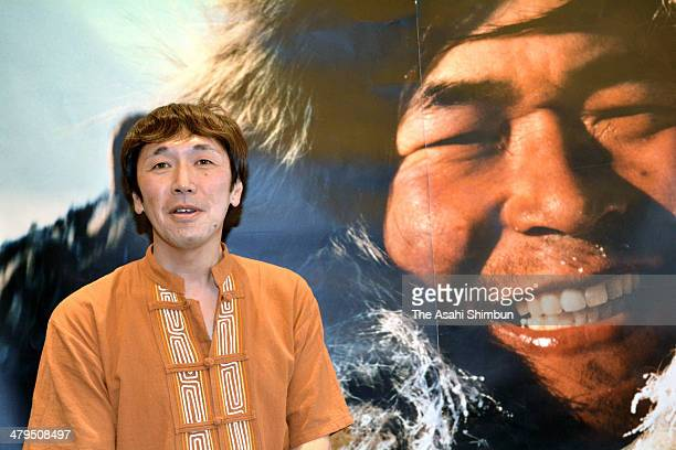 Adventurer Kanya Tanaka attends a press conference after receiving the Naomi Uemura Award on March 18 2014 in Tokyo Japan