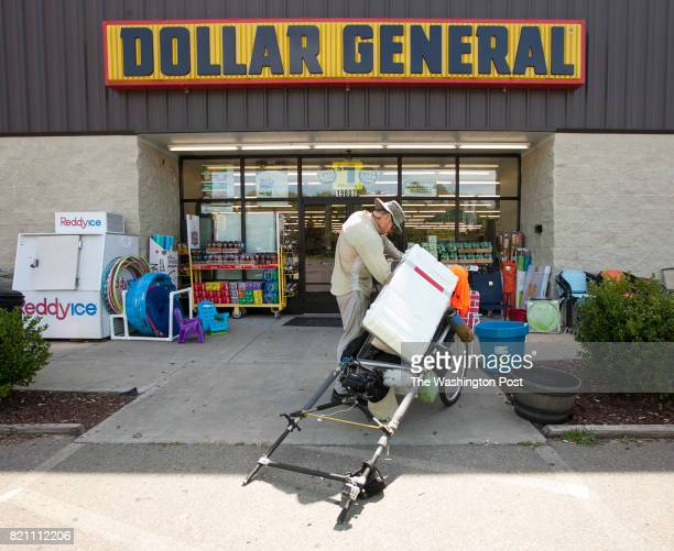 Adventurer Karl Bushby who is walking 3000 miles from Los Angeles to the Russian Embassy in Washington DC stops at for a break at a Dollar General...