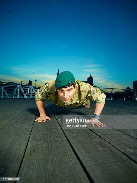 Adventurer writer and television presenter Bear Grylls is photographed for the Financial Times on March 10 2015 in London England