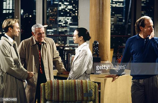 FRASIER 'Adventures in Paradise Part 2' Episode 9 Pictured David Hyde Pierce as Doctor Niles Crane John Mahoney as Martin Crane Bebe Neuwirth as...