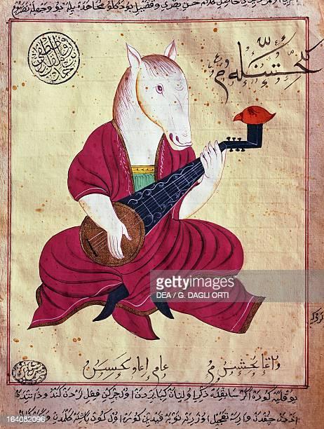 Adventures of the horse musician miniature from Fables of Bidpai Ottoman manuscript Turkey 19th century Istanbul Istanbul Universitesi Kutuphanesi