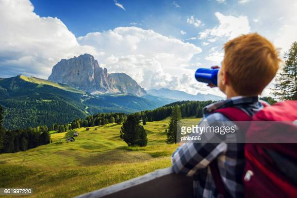 Adventures on the Dolomites: boy drinking water