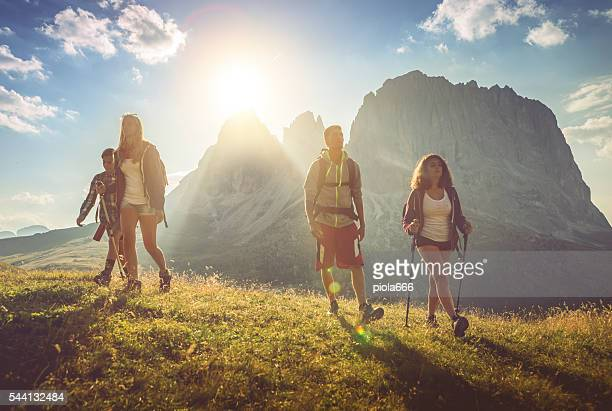 Adventures on the Dolomites: teenager friends together