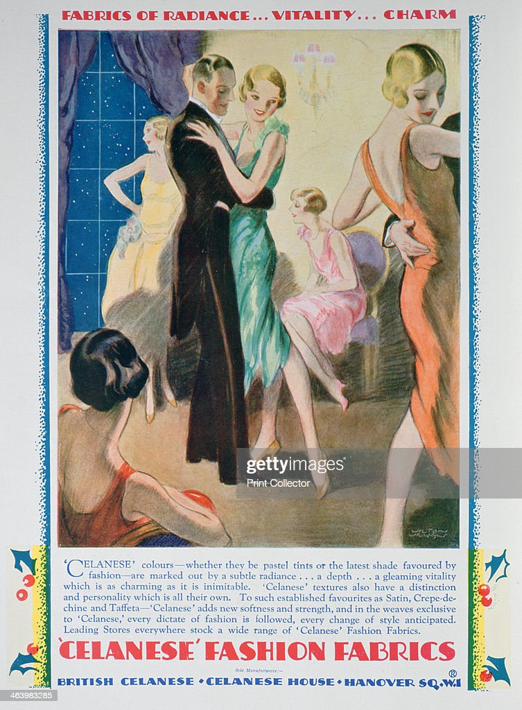 Advert for Celanese Fashion Fabrics 1928 A print from The Sketch Christmas 1928