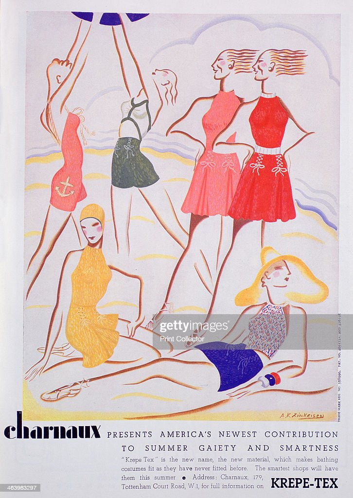 Advert for KrepeTex bathing costumes 1935 A print from Vogue 1st May 1935