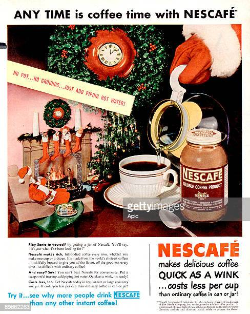 advert for Nescafe instant soluble coffee published in american magazine 50's