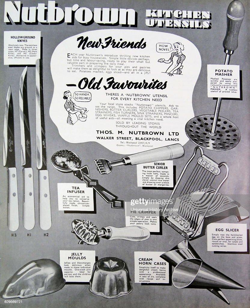 Advert for Nutbrown kitchen utensils including potato masher knifes moulds and egg slicer 1950