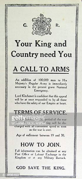 Advert for recruitment of soldiers for the British army by Lord Kitchener during World War One