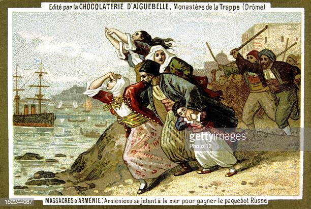 Advertisement for Aiguebelle chocolate Armenia slaughter by the Turks in18941896 Armenians plunging into the sea to reach a Russian liner Late 19th...