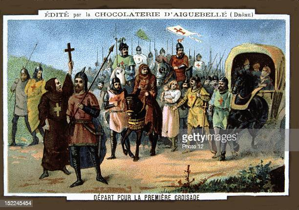 Advertisement for Aiguebelle chocolate The Crusades Leaving on the First Crusade Chromolithography Late 19th century Private collection