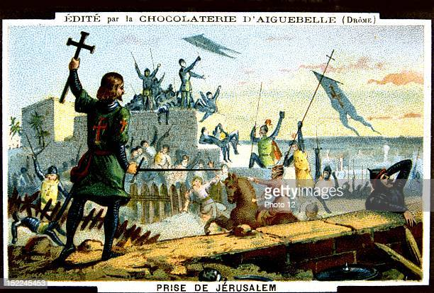 Advertisement for Aiguebelle chocolate The Crusades the conquest of Jerusalem by the Crusaders during the First Crusade Chromolithography Late 19th...