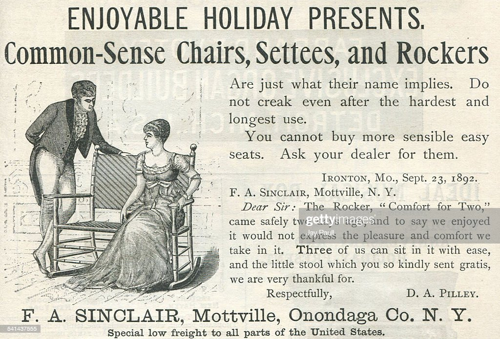 Advertisement For Chairs, Settees And Rockers For Christmas Presents By FA  Sinclair In Mottville,