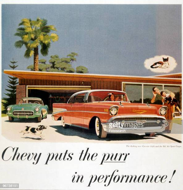 Advertisement for Chevrolet Corvette and Bel Air Sport Coupe circa 1950 Illustration of cars outside modern house with wife in car and husband...