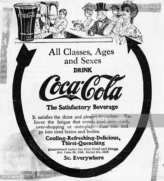 Advertisement for Coca Cola soft drink 'All ages classes sexes drink CocaCola The satisfactory beverage' Undated illustration