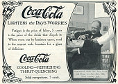 Advertisement for CocaCola picturing soda fountain delivery of Coke to an office worker 1907 The ad references the Pure Food and Drugs Act of 1906