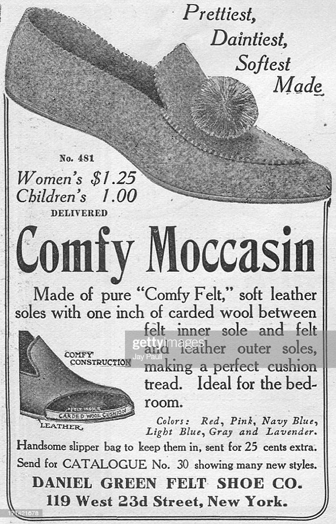 Advertisement for Daniel Green's moccasin by the Daniel Green Felt Shoe Company in New York 1906