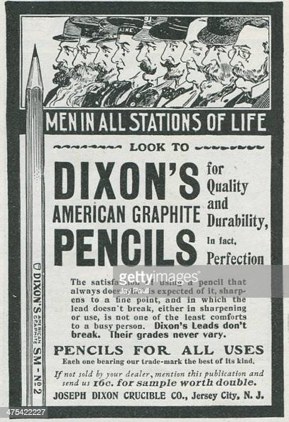Advertisement for Dixon's American graphite pencils by the Joseph Dixon Crucible Company in Jersey City New Jersey 1901