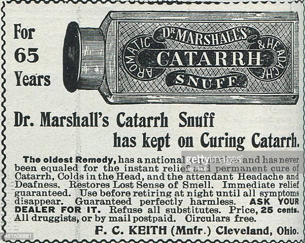Advertisement for Dr Marshall's Catarrh Snuff by FC Keith 1899
