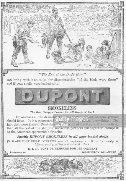 Advertisement for Du Pont shotgun powder by EI Du Pont De Nemours Powder Company in Wilmington Delaware 1907