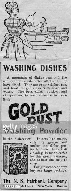 Advertisement for Gold Dust washing powder for dishes by the NK Fairbank and Company Chicago Illinois 1899